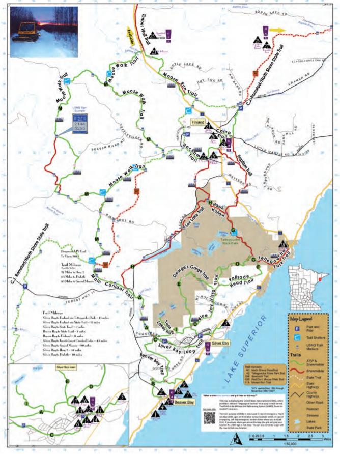 Silver Bay area snowmobile trail map
